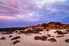 Gryning på portfen, Victoria, Australien, stor hav väg, Victoria, Australien arkivfoton