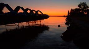 Gryning på sjön Balaton Royaltyfri Bild
