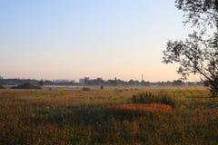 Gryning utanför staden hösten börjar dimmaängmorgon över vatten Stadshorisont på horisonten Arkivfoto