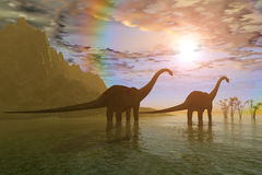 gryningdinosaurs Royaltyfri Fotografi