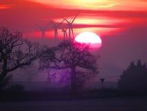 Gryningen av vindkraft royaltyfria foton