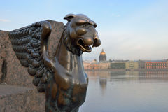 Gryphon on a background of St. Isaac's Cathedral Stock Photography