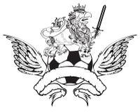 Gryphon piłki nożnej żakiet ręka grzebienia kordzik Zdjęcie Royalty Free