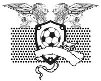 Gryphon soccer coat of arms crest ribbon Royalty Free Stock Photography