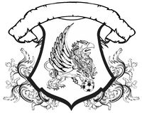Gryphon soccer coat of arms crest shield Stock Images