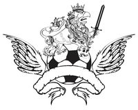 Gryphon soccer coat of arms crest sword Royalty Free Stock Photo