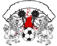 Gryphon soccer coat of arms crest tshirt Royalty Free Stock Images