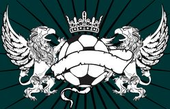 Gryphon soccer crest background 0 Royalty Free Stock Images