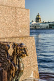 The Gryphon statue at the foot of The Sphinx at the University embankment. Royalty Free Stock Photography