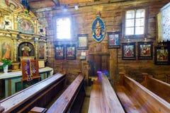 Grywald, ΠΟΛΩΝΙΑ - 11 Αυγούστου 2016  Εσωτερικό του ξύλινου 15ου σεντ Στοκ Εικόνες