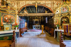 Grywald, POLAND - August 11, 2016; Interior of  wooden 15th cent Royalty Free Stock Photos