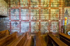 Grywald, POLAND - August 11, 2016; Interior of  wooden 15th cent Royalty Free Stock Images