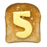 Grzanka z masło liczbą Zdjęcie Royalty Free