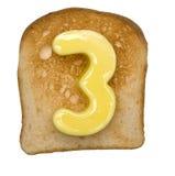 Grzanka z masło liczbą Zdjęcia Royalty Free