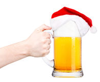 Grzanka z piwem i kapeluszem Santa Obrazy Royalty Free