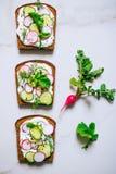 Grzanka z rzodkwi, ogórkowego i czarnego sezamem ciemny chleb na a, obraz stock