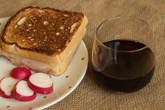Grzanka z serem i bekonem Zdjęcia Stock