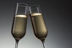 Grzanka z zimnym szampanem obraz stock