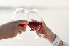 Grzanki wino Zdjęcia Royalty Free