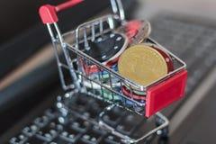 Grzebaków układy scaleni i bitcoin w tramwaju na komputerowej klawiaturze Online uprawia hazard pojęcie zdjęcia royalty free