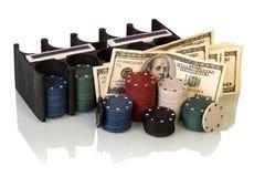 Grzebaków układ scalony i dolarowi rachunki Obraz Royalty Free