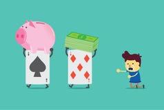 Grzebak karta uchwyta wartość hazardzista royalty ilustracja