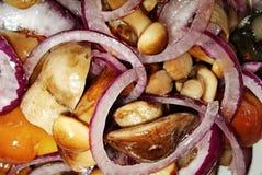 grzyby solenie Solony miodowy grzyb Solone pieczarki są wielkim przekąską dla ajerówki Tradycyjni naczynia Rosyjska kuchnia zdjęcie royalty free