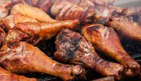 Grzywna piec na grillu indycze nogi Fotografia Royalty Free