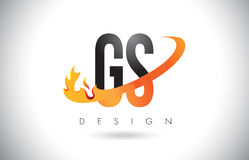 GS G S Letter Logo with Fire Flames Design and Orange Swoosh. GS G S Letter Logo Design with Fire Flames and Orange Swoosh Vector Illustration Royalty Free Stock Photos
