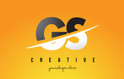 GS G S Letter Modern Logo Design with Yellow Background and Swoo. GS G S Letter Modern Logo Design with Swoosh Cutting the Middle Letters and Yellow Background Stock Photo