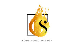 GS gouden Brief Logo Painted Brush Texture Strokes Stock Afbeelding