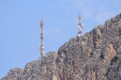 Gsm antenna on rocks Stock Photo