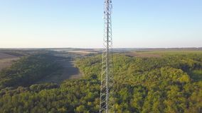 GSM mobile tower at the middle stock footage