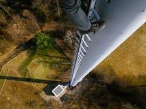 GSM transmitter tower, technican climber Stock Photography