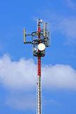 Gsm telecommunication tower. Top the tower of a transmitter station stock photography