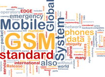GSM word cloud. Word cloud concept illustration of phone GSM Royalty Free Stock Images