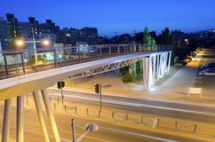 GSO sports park bridge, Limassol, Cyprus. A night view of the seaside bridge connecting the beach to GSO Sports park in Limassol, Cyprus. A view of the street stock photography