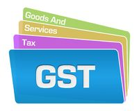 GST -商品和服务税文本五颜六色的正方形堆 皇族释放例证