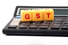 Gst calculations. Concept shot of gst calculations on white background stock image
