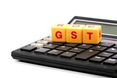 Gst calculations. Concept shot of gst calculations on white background stock photos