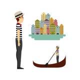 2016 10 23 1472 GST. Gondola boat and italian man.venetian city iconic symbols over white background. vector illustration Stock Illustration