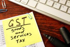 GST Goods and services tax. Stock Images