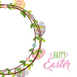 2017 02 18 1598 GST. Happy easter card with wreath with eggs and flowers over white background. colorful desing. vector illustration Royalty Free Stock Image