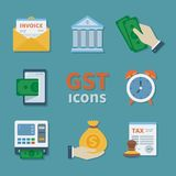 GST icons. Set of Finance flat color icons. Tax payment. Goods and service tax. Envelope, invoice, ATM, tax form. Vector Royalty Free Stock Photos