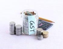 GST oder Waren und Service-Steuer, Konzept Stockfoto