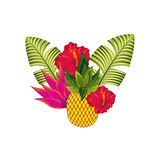 2017 02 20 1602 GST. Pineapple with tropical leaves and flowers over white background. colorful design. vector illustration Stock Photo