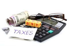 Gst taxes. Concept shot of gst taxes on white background Stock Images