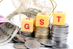 Gst taxes. Concept shot of gst taxes on white background Royalty Free Stock Photography
