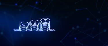GST, towary i usługi podatek, GST podatek, Biznesowy podatek, od wartości dodanej podatek, Indiańska waluta, pieniądze, monety, k ilustracji
