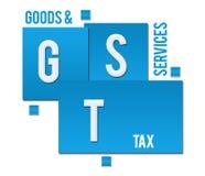 GST - Waren-und Service-Steuer-blauer Quadrat-Text Lizenzfreies Stockfoto